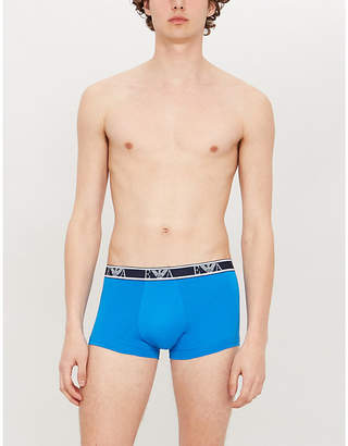 63d974e559 Emporio Armani Mens Blue and White Pack Of 2 Logo Embroidered Slim Fit  Stretch Cotton Trunks