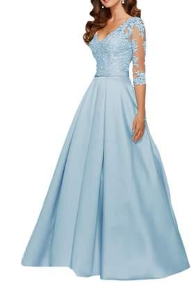 QiJunGe Modest 3/4 Sleeve Long Appliqued Prom Evening Gowns V Neck Formal Dress US