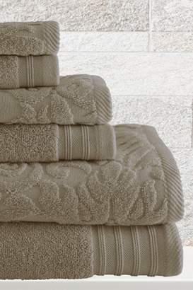 Amrapur Jacquard/Solid 6-Piece Leaf Swirl Towel Set - Taupe