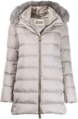 Herno fox fur trim puffer coat