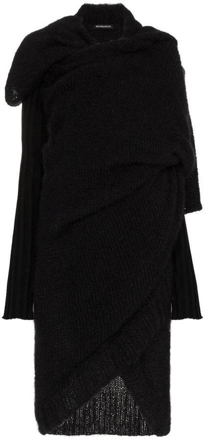 Long wrap wool and mohair knit cardigan