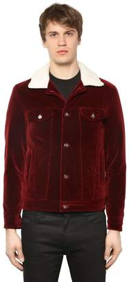 Velvet Jacket W/ Faux Shearling Collar