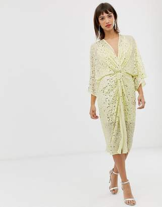 Asos Design DESIGN scatter sequin knot front kimono midi dress