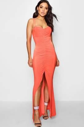 boohoo Amelie Slinky Gathered Fish Tail Maxi Dress