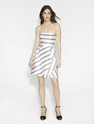 Halston Strapless Striped Dress With Pleats