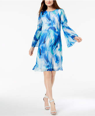 Calvin Klein Printed Bell-Sleeve Shift Dress