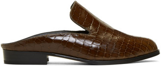 Robert Clergerie Brown Croc-Embossed Alice Slip-On Loafers $495 thestylecure.com