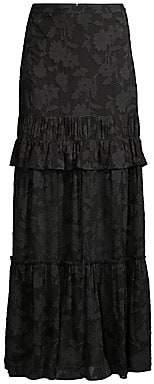 Rachel Zoe Women's Lilith Floral Ruffled Silk-Blend Maxi Skirt - Size 0