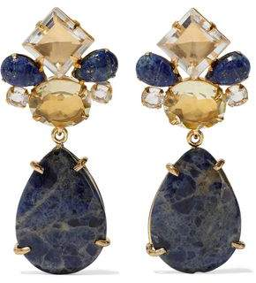 Bounkit Convertible Gold-Tone Sodalite And Quartz Earrings