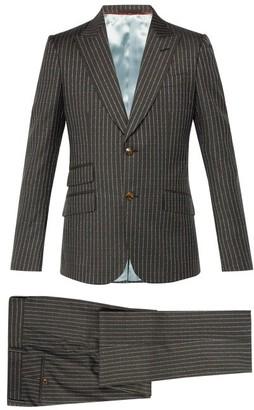 Gucci Heritage Logo Print Wool Suit - Mens - Grey
