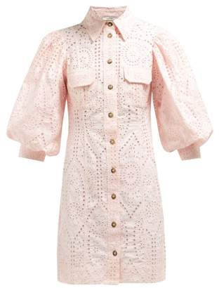 Ganni Sandrose Broderie Anglaise Cotton Mini Dress - Womens - Light Pink