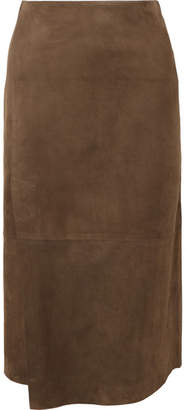 Vince Wrap-effect Suede Midi Skirt - Chocolate