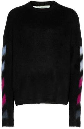 Off-White diagonal stripe brushed mohair wool-blend jumper
