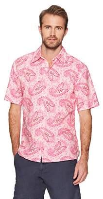Isle Bay Linens Men's Standard Fit Short Sleeve Cotton Linen Paisley Casual Hawaiian Shirt L