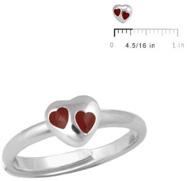 Ice Children Silver Red Heart Adjustable Ring For Girls (Size 3-7)