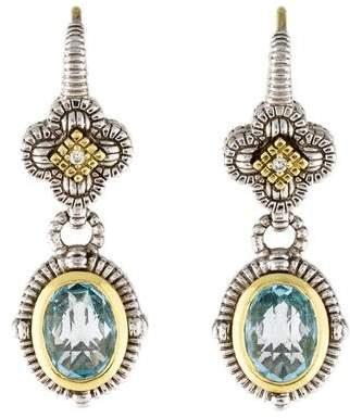 Judith Ripka Topaz & Diamond Drop Earrings