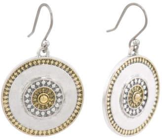 Two Tone Coin Drop Earrings