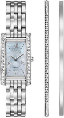Zales Ladies' Exclusive Citizen Eco-DriveA Crystal Accent Watch and Bangle Boxed Set (Model: EX1470-60D)
