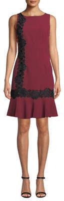 Karl Lagerfeld Paris Lace-Embroidered Flounce-Hem Dress