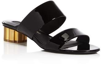 Salvatore Ferragamo Women's Belluno Floral Heel Suede Slide Sandals
