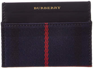 Burberry Sandon Tartan Check Canvas & Leather Card Case