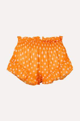 Caroline Constas Ruffled Polka-dot Chiffon Shorts - Orange