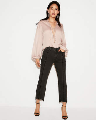 Express Striped Lace-Up Blouson Sleeve Blouse