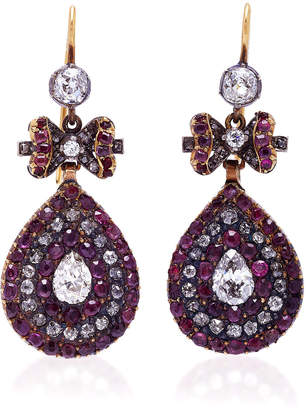 Fred Leighton One-Of-A-Kind Vintage Ruby Bow Motif Pendant Earrings