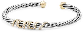 David Yurman Helena Center Station Bracelet with Diamonds and 18K Gold, 4mm
