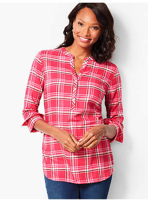 Talbots Classic Cotton Band-Collar Popover - Plaid