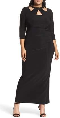 Marina Embellished Neck Matte Jersey Gown