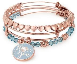 Alex and Ani I Love You Charm Expandable Wire Bracelet - Set of 3