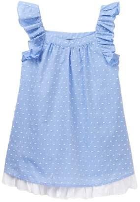 Zunie Ruffle Sleeve Chambray Birdseye Dress (Little Girls)
