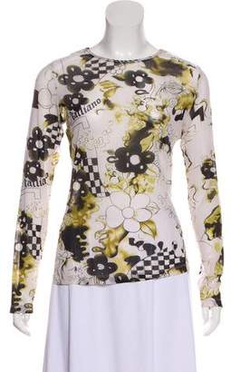 Galliano Printed Long Sleeve Top