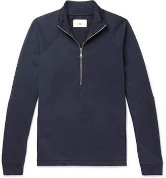 Folk Loopback Cotton-Jersey Half-Zip Sweatshirt - Men - Navy
