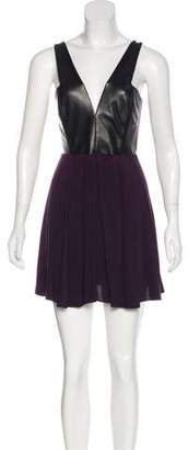 Mason Leather-Paneled A-Line Dress