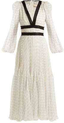 Maria Lucia Hohan Opal Geometric Print Silk Midi Dress - Womens - White Print