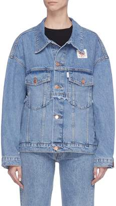Aalto Graphic patch frayed oversized denim jacket