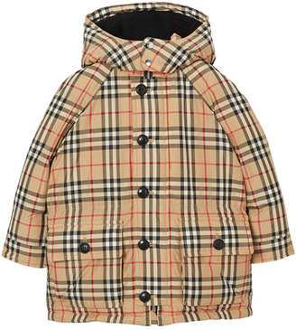 Burberry Girl's Jamir Check Puffer Coat, Size 3-14