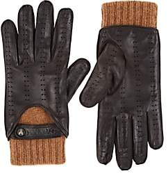 Christophe Fenwick CHRISTOPHE FENWICK MEN'S LE MANS CASHMERE-LINED LEATHER GLOVES-BROWN SIZE 7.5