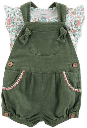 Carter's 2pc Flutter Sleeve Top & Shortall- Baby Girl