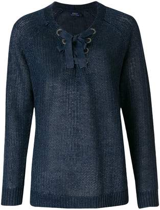 Polo Ralph Lauren lace-up detail jumper