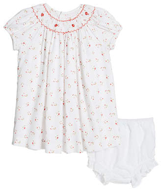 Luli & Me Smocked Floral Dress w/ Swiss Dot Bloomers, Size 3-24 Months