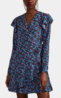 Robert Rodriguez WOMEN'S LENA FLORAL SATIN RUFFLED WRAP DRESS