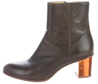 Maison Margiela Almond-Toe Leather Ankle Boots