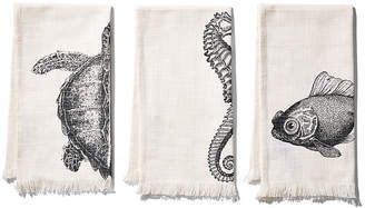 Thomas Paul Set of 3 Sealife Hand Towels - Charcoal