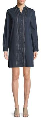 Badgley Mischka Long-Sleeve Denim Shirt Dress w/ Pearly Trim
