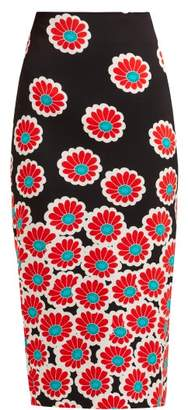 Diane von Furstenberg Kara Blossom Print Pencil Skirt - Womens - Black Red