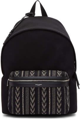 Saint Laurent Black Ikat City Backpack