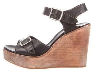 Chloé Leather Wooden Wedge Sandals